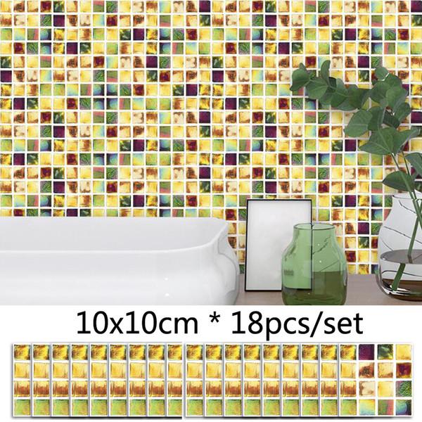 Acquista Adesivo Da Parete Modello Mosaico Colorato Rimovibile Adesivi  Autoadesivi Impermeabili Adesivi Piastrelle Da Cucina Decorazioni Bagno ...