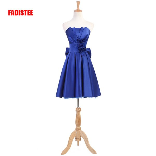 New arrival Cocktail Party dresses prom flowers short dress strapless classic flowers pleat satin big bow dress