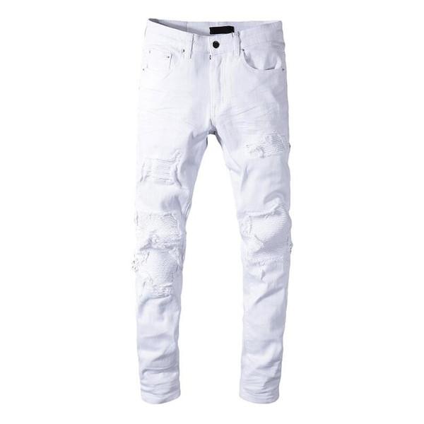 Jeans da uomo in cotone bianco di design di alta qualità strappati pantaloni streetwear slim fit jeans strappati pantaloni da denim distrutti in patchwork biker bianchi
