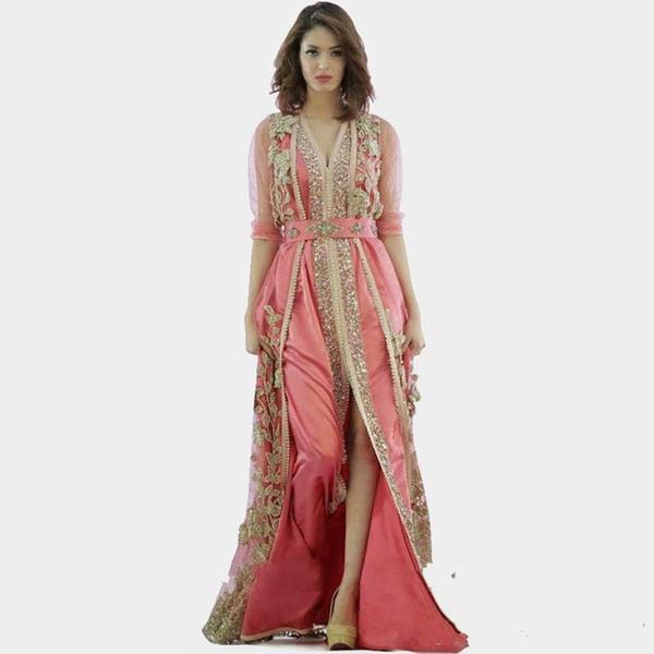 2019 Nuovo abito rosa Marocco Turchia abiti di alta qualità a maniche lunghe tessuto in abiti da sera dubai abiti islamici Vestido De Festa