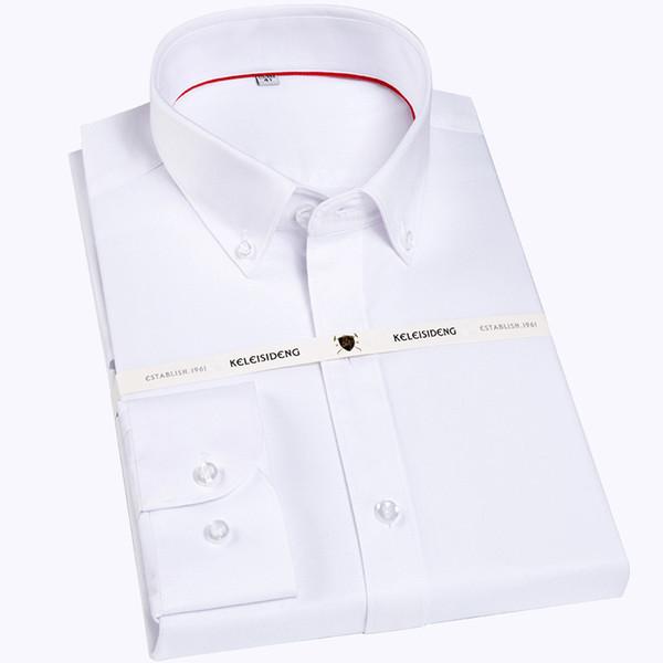 ZJ156 G manga formal, sin plancha, hombres formales, camisas de vestir sin bolsillo frontal, tops masculinos blancos
