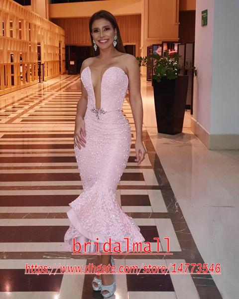 Sexy 2020 Aso Ebi arábigos rosa de la sirena de los vestidos de noche del amor del cordón de las perlas Vestidos de baile Vestidos elegantes de recepción partido del desfile formal