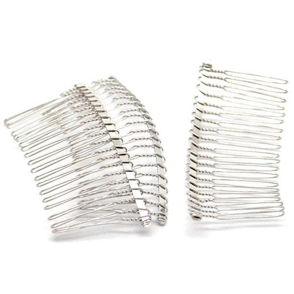 10Pcs Silver Tone Comb Shape Alloy Hair Clips Barrettes Jewelry Diy Findings 7.8cm