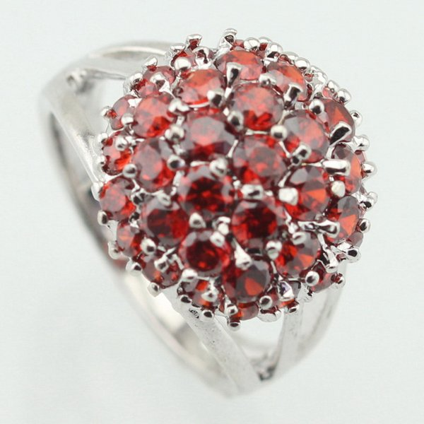Fashion Jewelry Rings WPAITKYS Round Red Cubic Zirconia Silver Color Party Ring For Women Crystal Rings Female Jewelry Size 6 7 8