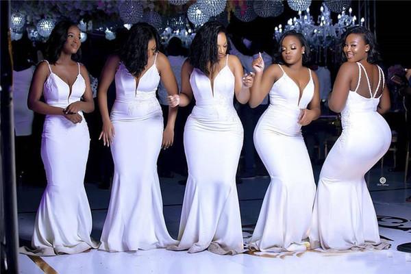 Elegante espaguetis sirena vestido de dama barato cuello en V profundo del vestido de boda africana Hoteles baratos larga noche de baile novia Miad de honor vestidos