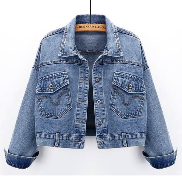 2019 donne rivestimento del denim del cappotto Jean casuale del modello di base femminile cappotto sottile Windbreaker Pockets Vintage autunno Slim Lady Outwear