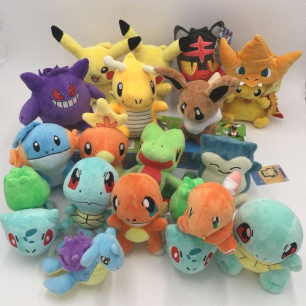 17 estilos pikachu boneca brinquedo pasaup charmander eevee mew squirtle pelúcia brinquedo de pelúcia para presente das crianças