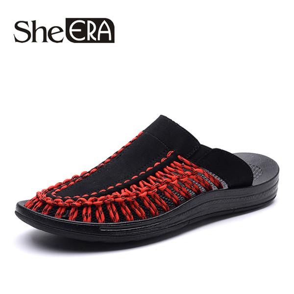 5caea6b09e1 New 2019 Summer Men Slippers Fashion Handmade Weaving Design Breathable  Casual Beach Shoes Unique Brand Sandals