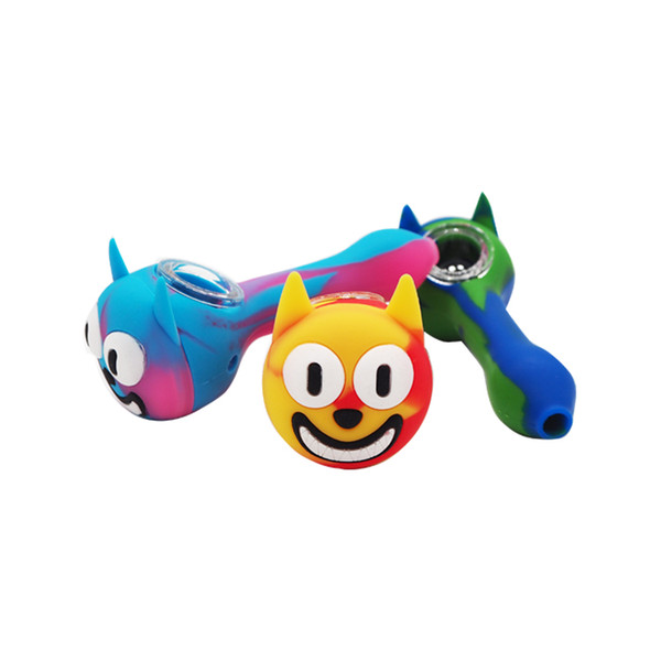 Beyou Glass Bowl Smoking Pipes food grade silicone Dry Herb Dab Rig Cute Cat Mini Bubbler