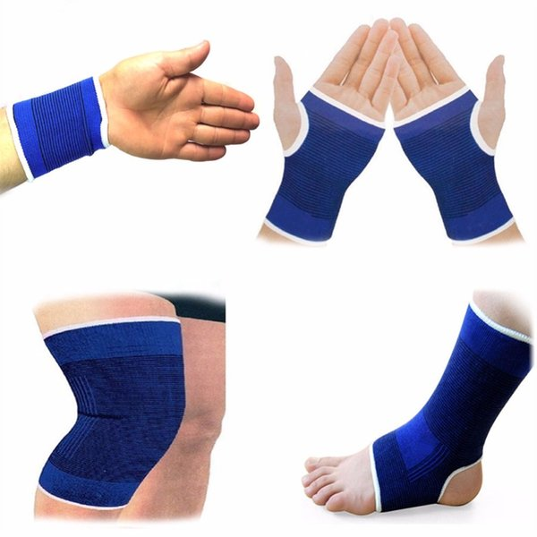 1Pair Elasticated Knee Blue Knee Pads Support Brace Leg Arthritis Injury GYM Sleeve Elasticated Bandage Ankle Brace Support #18213