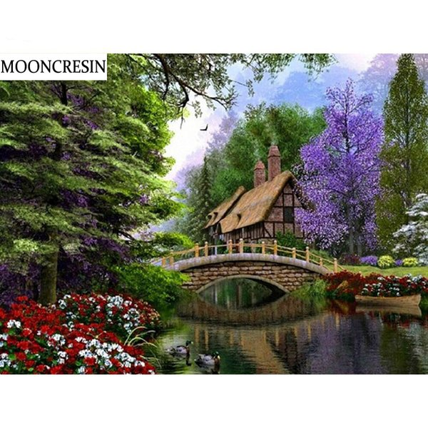 Needlework Diamond Embroidery Cottage Forest Cross Stitch Mosaic Pictures of Rhinestones 5D Diy Diamond Painting Home Decoration