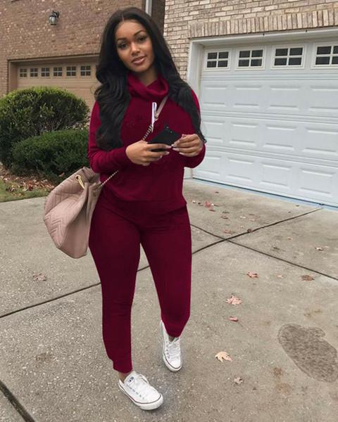 C Brand Designer Women Sweatsuit Heaps Collar 2 Piece Set Hoodie Leggings Tracksuit Sweat Shirt Tights Sportswear Pullover Pants Outfits Hot