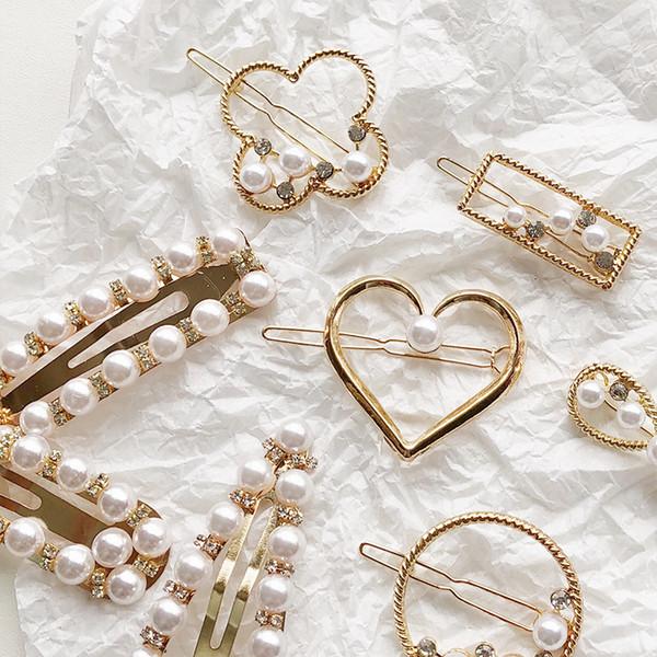 Geometric Alloy Flower Heart Hairpins Creative Imitation Pearl Hair Clips For Women Cute Rhinestone Barrettes Jewelry Accessories Wholesale