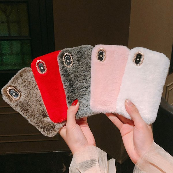 Luxury Fluffy Furry Plush Fur Pink Mobile Phone Case for iPhone 6 6s 7 8 Plus X XR XS Max Smart Covers for Women