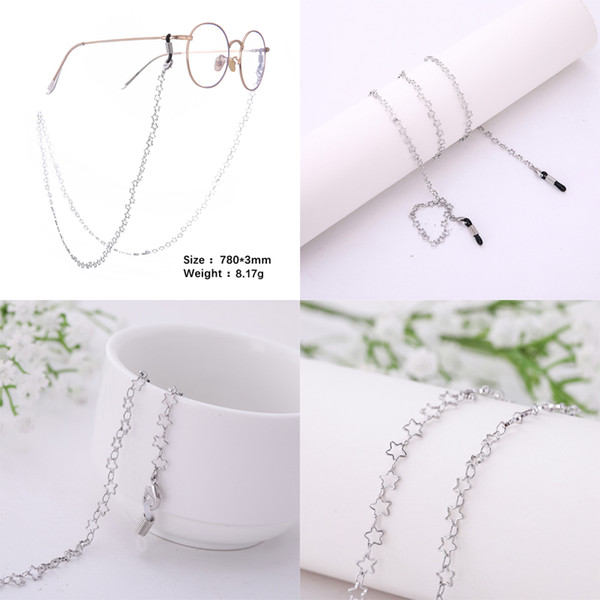 Dropshipping Star and Crown Shape Long Sunglasses Chain Gold and Silver Dolphin Eye Glasses Chain for Women and Men Jewelry 5pcs/lot