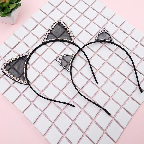 Moda 1 pc Bonito Orelhas de Gato Tiara Hairband para Mulheres Meninas Strass Pérola Princesa Headbands Bezel Acessórios Para o Cabelo