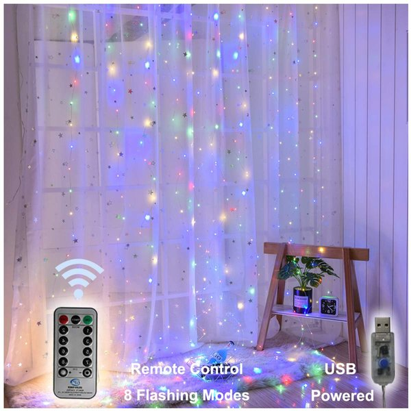Holiday Decorations Lights String 300 LED Window Curtain Twinkle Starry Lights 8 Lighting Modes Remote Control for Wedding