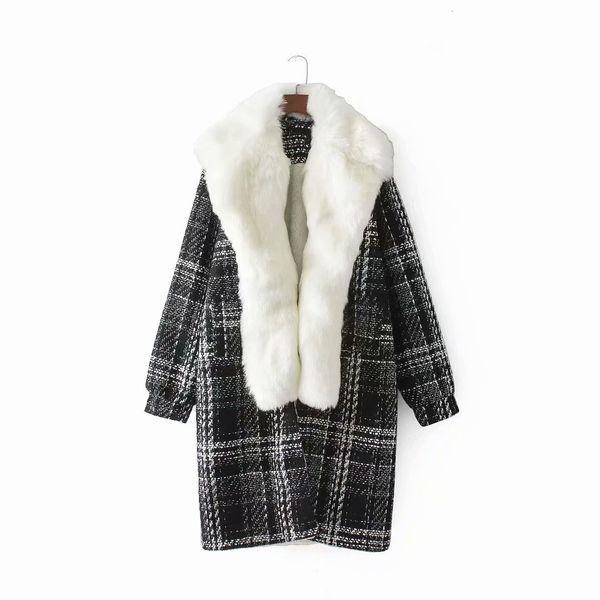 Mulheres Estilo novo atacado de Inverno de Raccoon Inner Vestindo Parka Casaco de Pele Mid-comprimento grossa de lã xadrez Overcoat