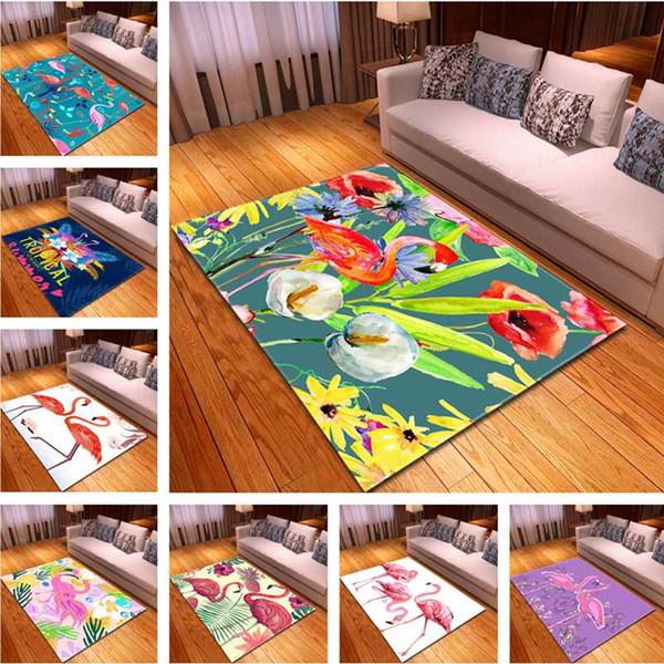 Acheter 3d Print Flamingo Amour Tapis Salon Chambre Moquette Grand Tapis Tapis De Salle De Rez De Cuisine Salon Bebe Vert Tapis Colore De 35 74 Du