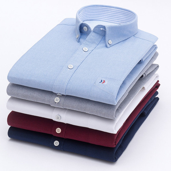 High Quality Top Sell Oxford Pure Color 100% Cotton Formal Casual Long Sleeve Dress Shirt Men Classic Design Fashion Clothes #470975