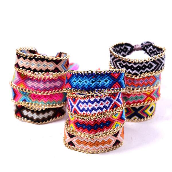 Friendship Fashion Jewelry Women Handmade Cotton Cotton wire Metal Bracelet Woven Bangle fabrics Tassel Lace-up Bracelet Nineteen Style