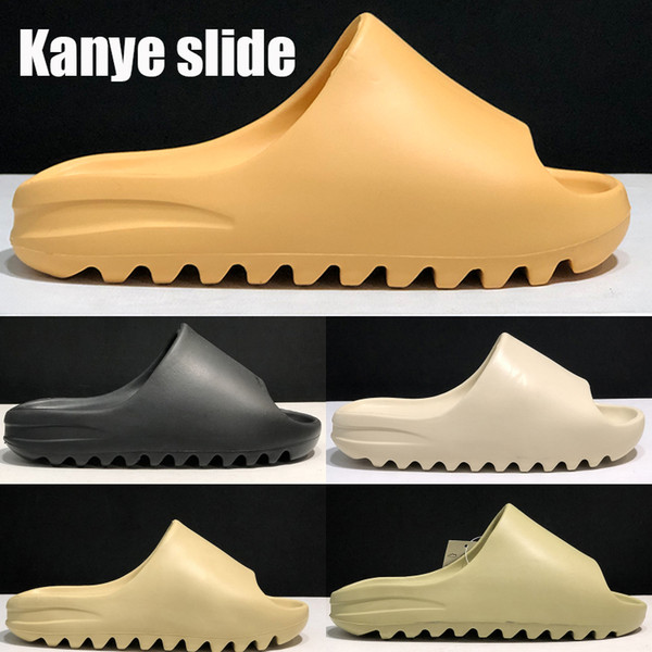 top popular New Kanye Slide shoes Fashion slipper desert sand resin earth brown Summer Platform Sandale Triple Black Bone White men slippers with box 2020