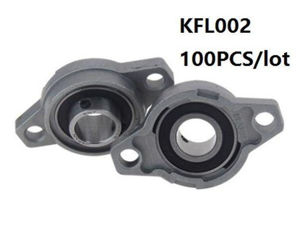 100pcs / lot KFL002 FL002 15mm Zinklegierungslagereinheiten Stehlager Flanschblöck Lager für CNC-Fräser Teile