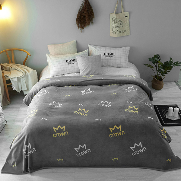 home textile gray comfotable and soft coral fleece fabric blanket for sofa warm bedspread blanket cover on the bed