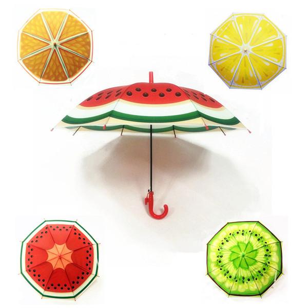 Nuevo estilo de los niños de frutas patrón de la historieta niños paraguas de plástico soleado y lluvioso doble propósito paraguas T9I00123