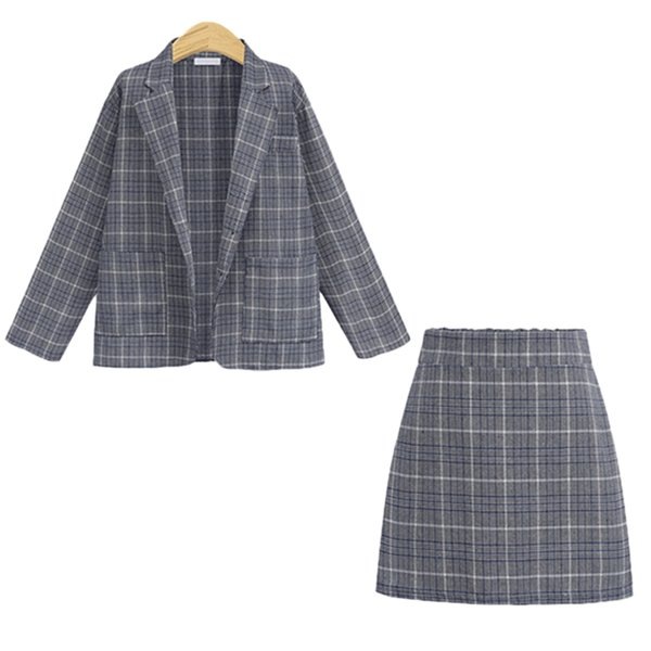 Women Suit With Skirt Elegant Office Ladies Uniform Plaid Blazer Long Sleeve Retro Suits Coat Pockets Jackets Formal Skirt Set SH190827