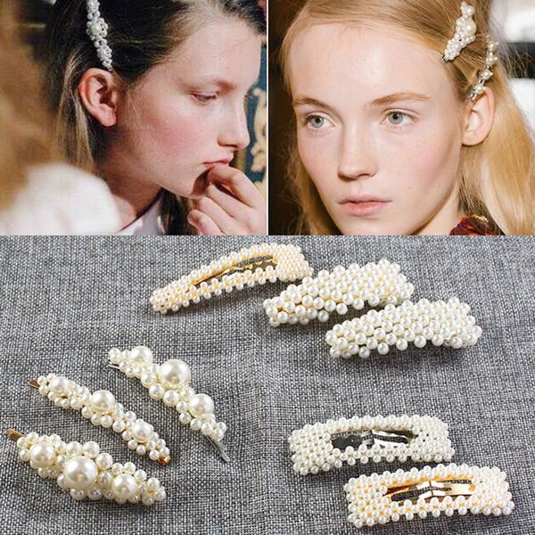 Pearl Hair Clip Fashion Women Diamante Snap Barrette Stick Hairpin Bobby Hair Styling Accessories 18 Styles 2019 Hair ornaments