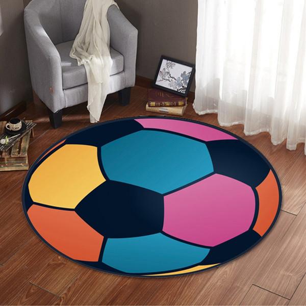 Baloncesto impresión circular alfombra sala de estar mesa de té silla cojín antideslizante alfombra alfombra piso 12 estilo LJJS111