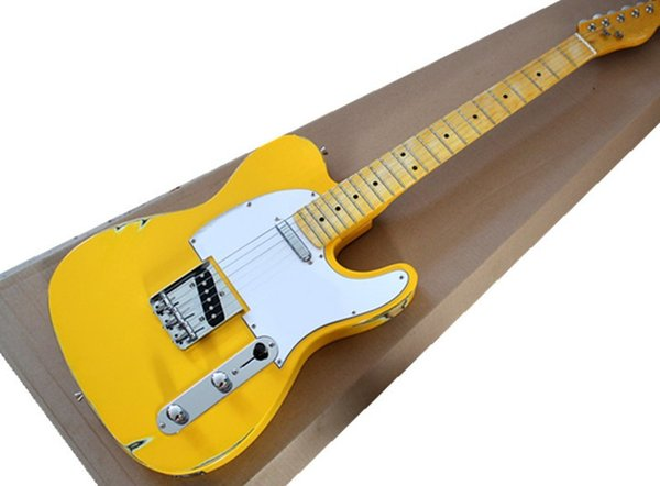 Free Shipping Factory Wholesale Retro Yellow Body Electric Guitar with Yellow Neck,White Pickguard,