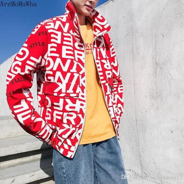 aremomuwha 2019 men's new spring coat coat korean version ins trend loose boys handsome alphabet casual windbreaker jacketqx1046