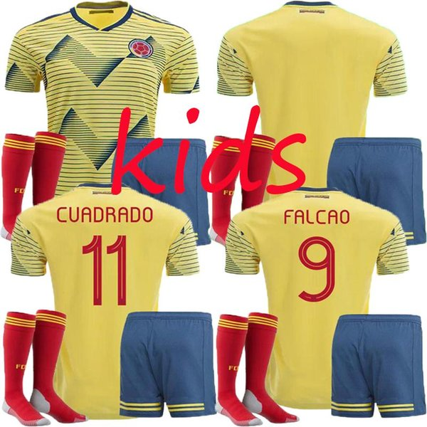 19 20 kids Colombia Home Away JAMES Soccer Jerseys kits capo america 2019 FALCAO CUADRADO AGUILAR GUARIN C.SANCHEZ football shirt Free Ship