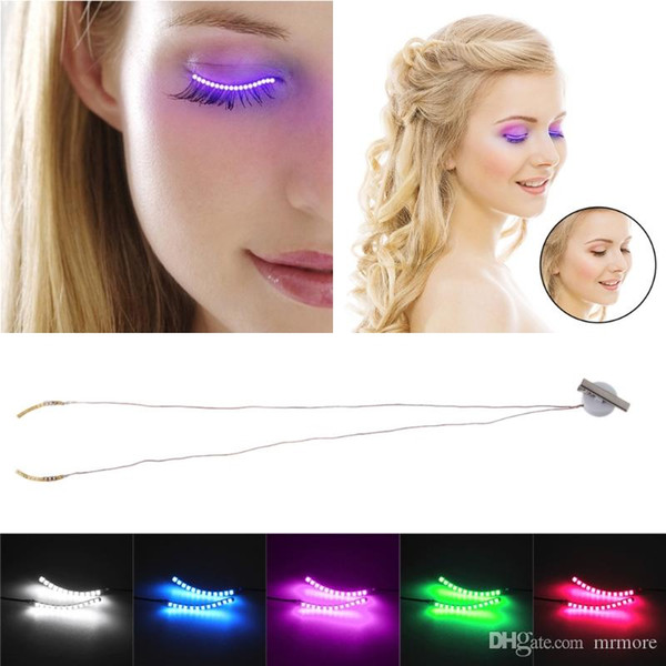 Nueva llegada Control de voz Noche de Halloween Luz LED Luminoso Maquillaje a prueba de agua Ojo falso Lápiz párpado Sticke