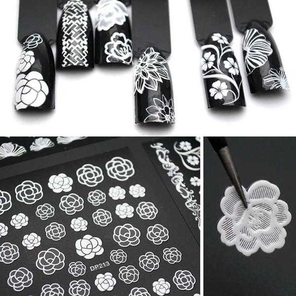 Fiori bianchi Pizzo Adesivi per nail art Decorazioni Strisce Adesivi per unghie 3D Decalcomanie Adesivo fai-da-te Design scorrevole Manicure ZJT3003
