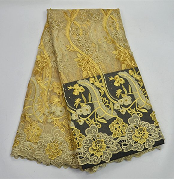 Jy89 Golden Pretty Embroidered French Lace Fabric With Beads,good Quality African Net Lace For Party & Wedding Dress!