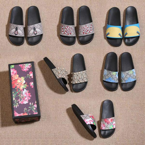 2019 Erkek Kadın Sandalet Tasarımcı Ayakkabı ile Doğru Çiçek Kutusu Toz Torbası Ayakkabı yılan baskı Slayt Yaz Geniş Düz Sandalet Terlik boyutu 36-45