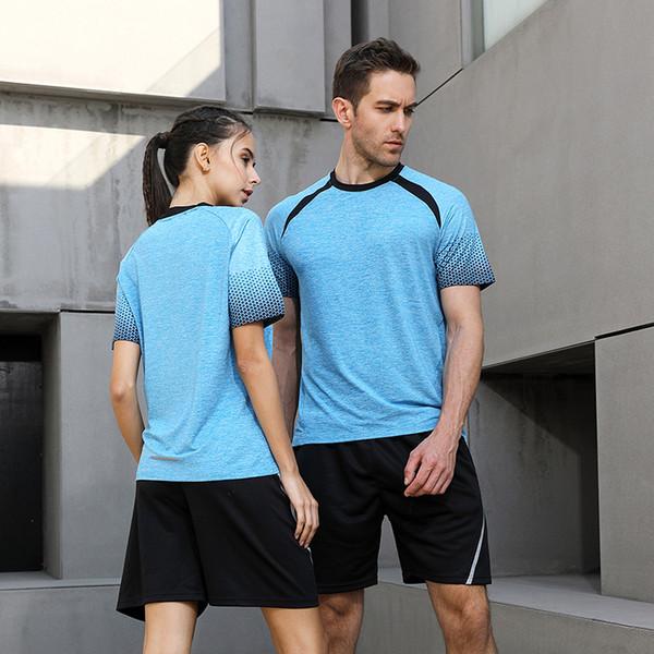 Uomini Funzionamento della donna Camicie degli insiemi di sport Shorts + maniche corte Outdoor Training Fit Jogging Badminton Tennis Golf Calcio