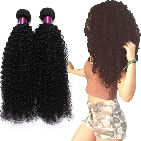 top popular Brazilian Kinky Curly Straight Body Wave Loose Wave Deep Wave Virgin Hair Wefts Natural Black Brazilian Curly Virgin Human Hair Extension 2021