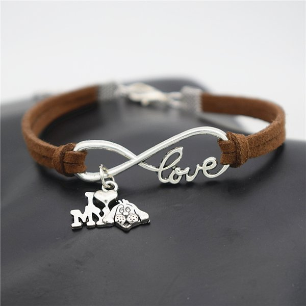 New Handmade Infinity Love I Heart My Dog Dark Brown Leather Suede Rope Cuff Bracelet & Bangles for Men Women Jewelry Gifts Vintage pulseira