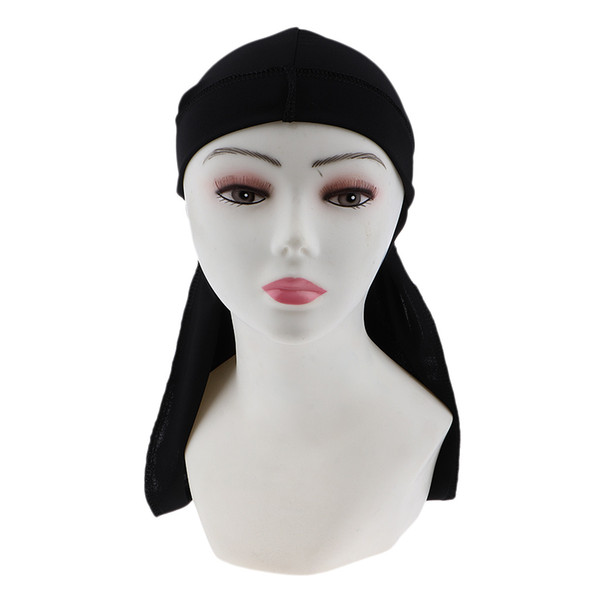 top popular 2pcs Long Tail Wide Straps Durag Solid Color Pirate Cap Two Tone Headwraps 2021