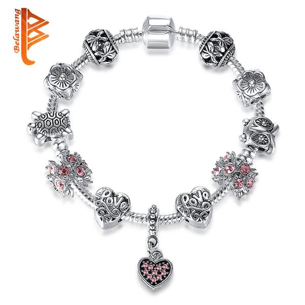 USpecial LOVE Letter Bracelet Silver Heart Charm Pink CZ Charm Bracelets Tortoise&Flower&Butterfly Charm Beads for Women Wholesale Jewelry
