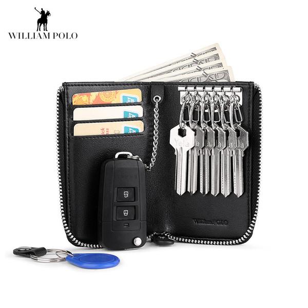 William Car Key Holder Keys Organizer Genuine Leather New Men Wallet Cover Six Key Bag Hook Zipper Case With Card Holder
