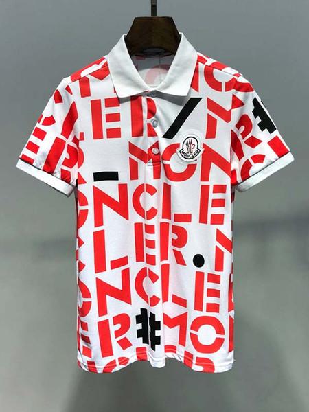 2019 verão moda de rua de moda masculina de manga curta pólo camisa de perfuração quente juventude magro T-shirt T12