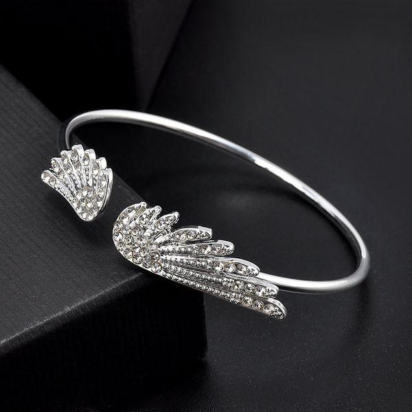 Women Charm Bracelets Sterling Silver Angel Wings Open Bangles Bling Diamond Bracelets