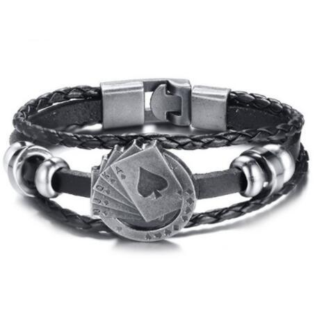 DHL Lucky Vintage Men's Leather bead Bracelet Playing Cards Charm fashion Multilayer Braided bangle for men Women