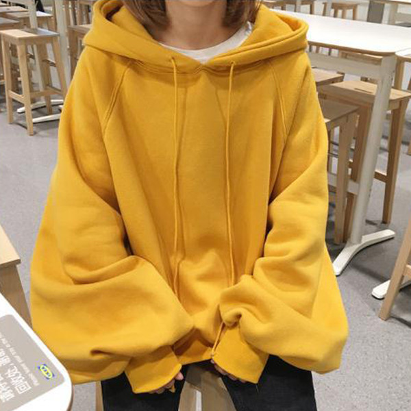 Women Spring and Autumn hooded lantern sleeves BF Style Loose Female Long Sleeve Student Hoodies