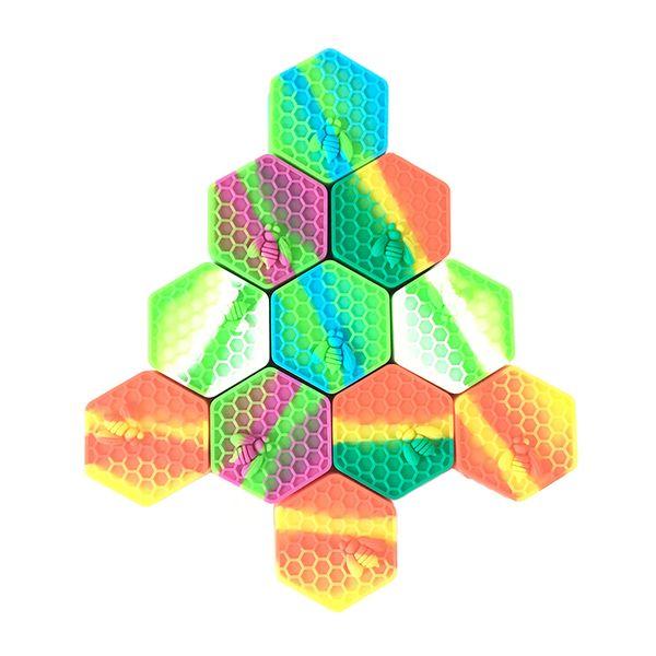 Honeybee Wax Silicone Containers Hexagon Food Grade Dab Oil Wax Jar 26ml New Slicks MOQ 1 Piece